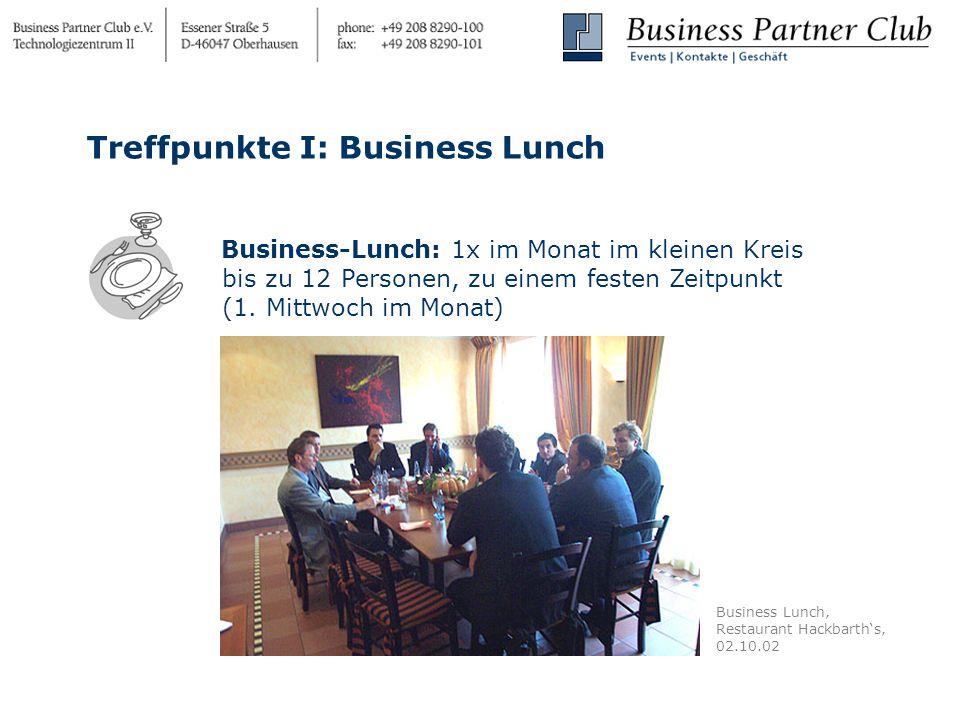 Business-Lunch: 1x im Monat im kleinen Kreis bis zu 12 Personen, zu einem festen Zeitpunkt (1.