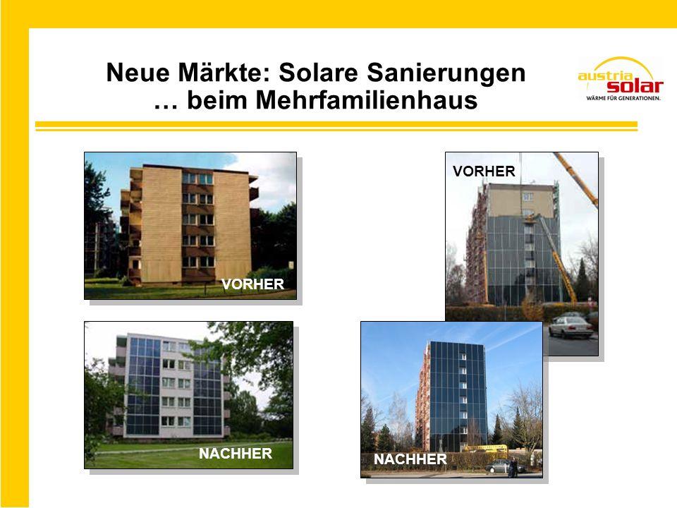 Neue Märkte: Solare Sanierungen … beim Mehrfamilienhaus VORHER NACHHER VORHER NACHHER