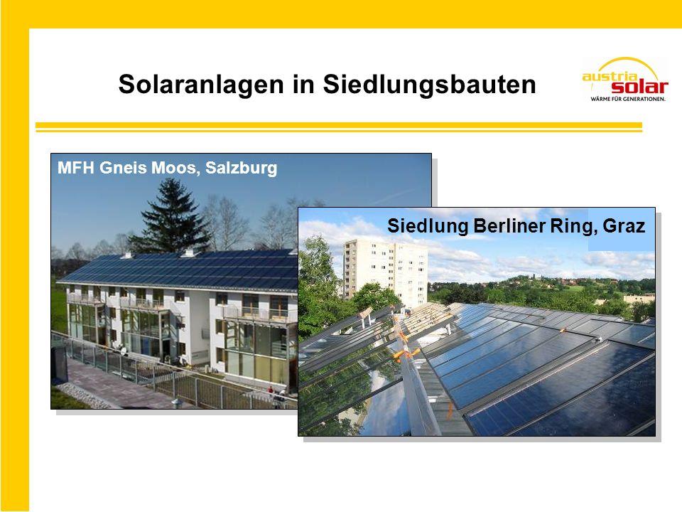 Solaranlagen in Siedlungsbauten MFH Gneis Moos, Salzburg Siedlung Berliner Ring, Graz