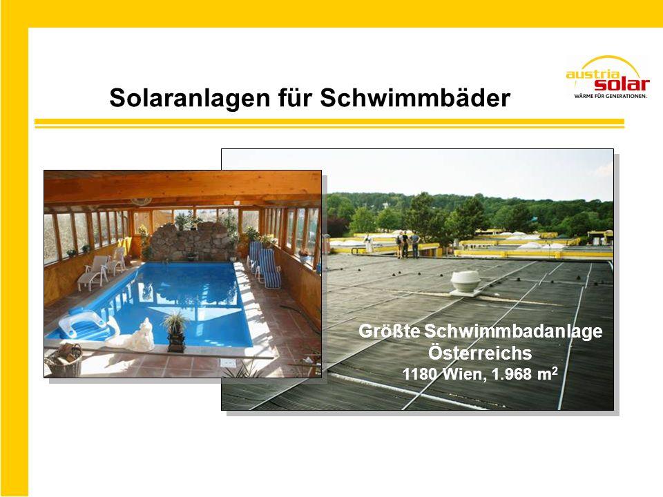 Solaranlagen für Schwimmbäder Größte Schwimmbadanlage Österreichs 1180 Wien, 1.968 m 2