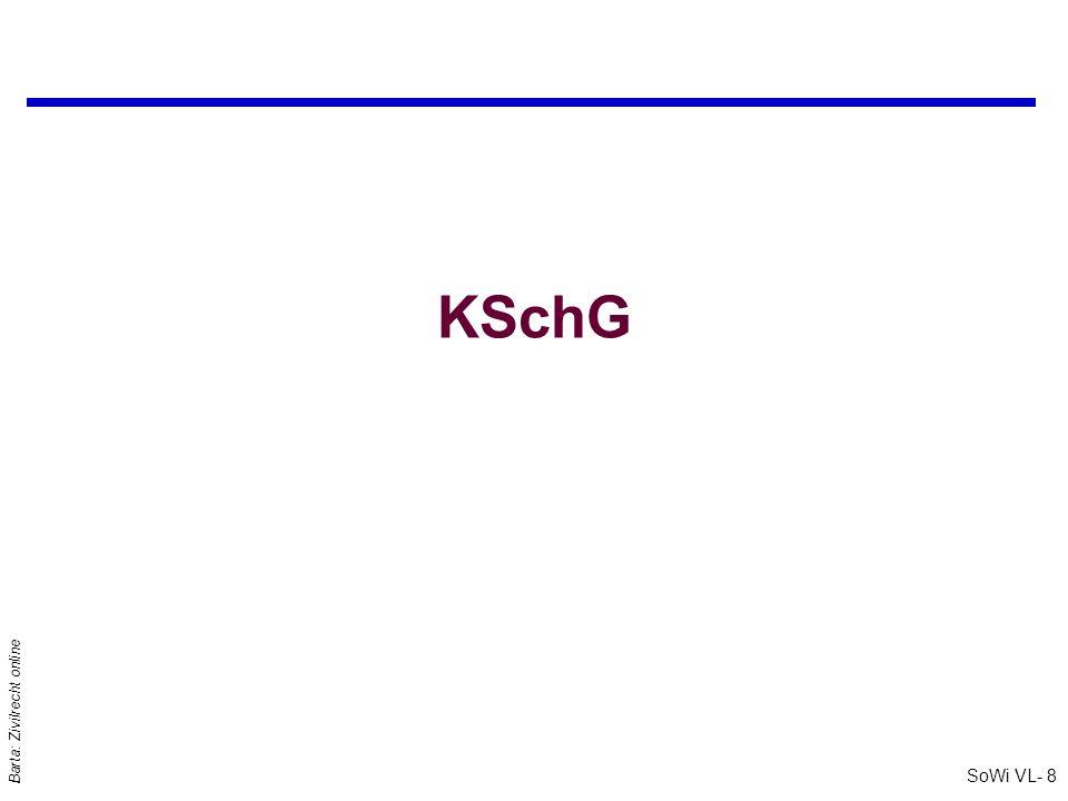 SoWi VL- 18 Barta: Zivilrecht online AGB - § 6 Abs 1 KSchG q§ 6 Abs 1 KSchG: Für den Verbraucher sind besonders solche Vertragsbestimmun- gen [iSd § 879 ABGB] jedenfalls nicht verbindlich,... : Etwa l unbestimmte oder überlange Antragsbindung des Verbrauchers l überstrenge Zugangserfordernisse l Ausschluss von Schadenersatz für vorsätzliche und grob fahrlässige Schädigung l Beweislastverträge l unangemessen kurze Verfallszeiten für überlassene Sachen
