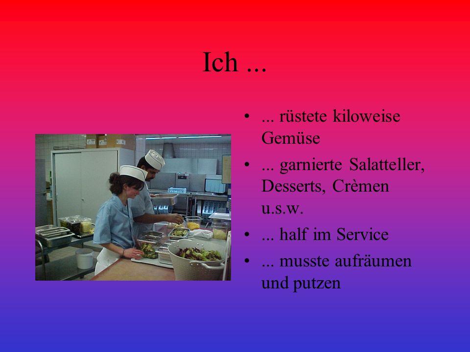 Ich...... rüstete kiloweise Gemüse... garnierte Salatteller, Desserts, Crèmen u.s.w.... half im Service... musste aufräumen und putzen