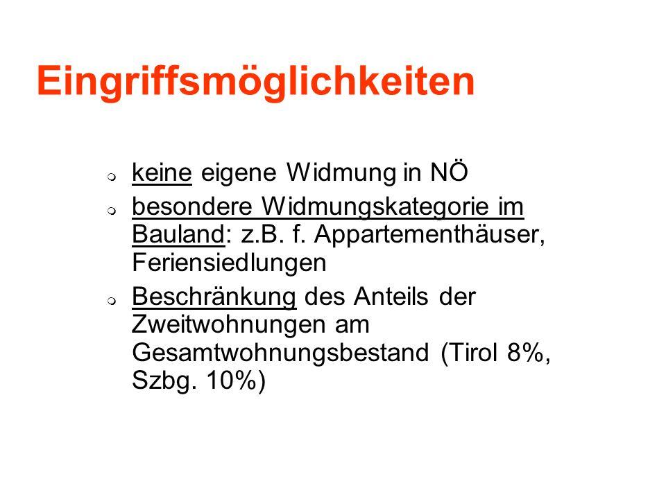Eingriffsmöglichkeiten keine eigene Widmung in NÖ besondere Widmungskategorie im Bauland: z.B. f. Appartementhäuser, Feriensiedlungen Beschränkung des