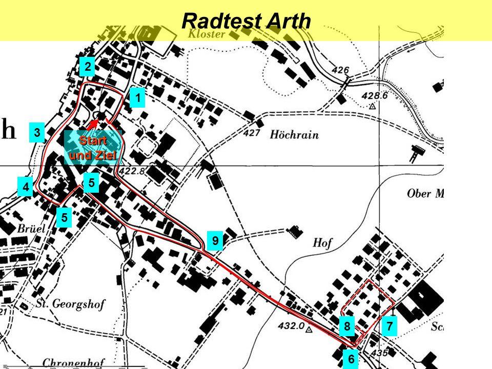 Start und Ziel Radtest Arth 1 2 4 3 5 5 6 8 9 7
