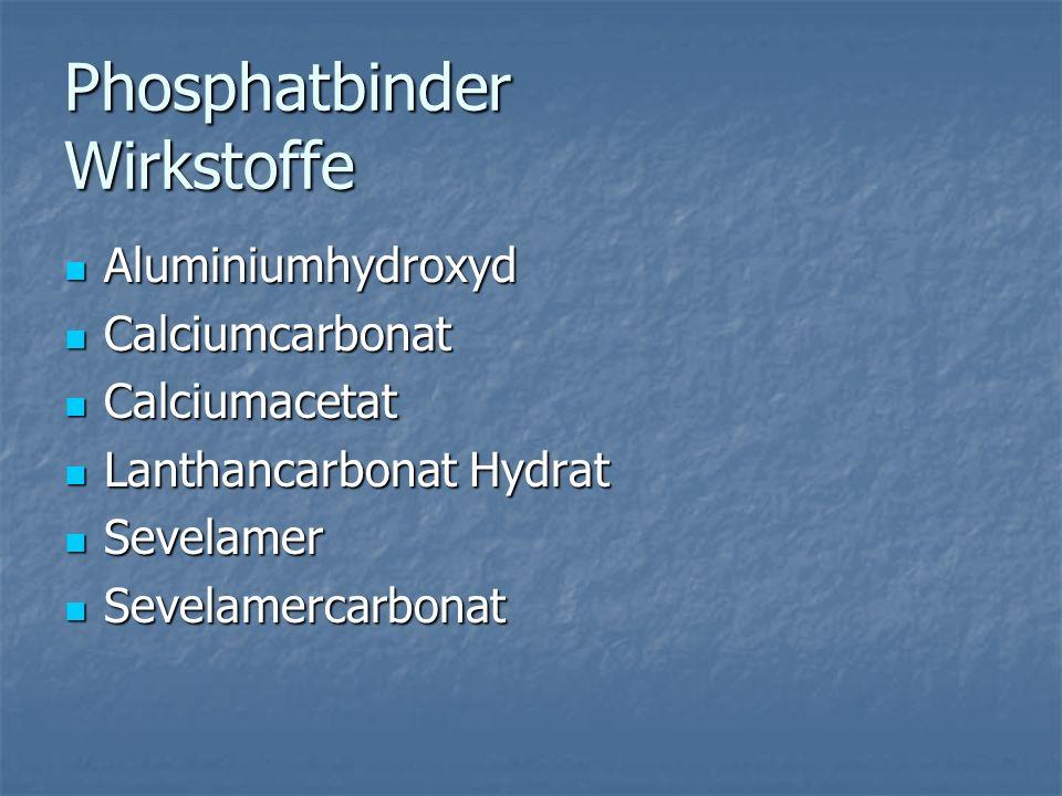 Phosphatbinder Wirkstoffe Aluminiumhydroxyd Aluminiumhydroxyd Calciumcarbonat Calciumcarbonat Calciumacetat Calciumacetat Lanthancarbonat Hydrat Lanthancarbonat Hydrat Sevelamer Sevelamer Sevelamercarbonat Sevelamercarbonat