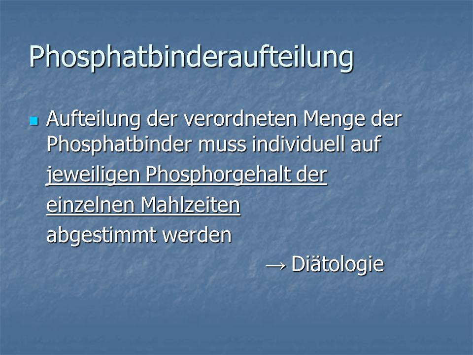 Phosphatbinderaufteilung Aufteilung der verordneten Menge der Phosphatbinder muss individuell auf Aufteilung der verordneten Menge der Phosphatbinder muss individuell auf jeweiligen Phosphorgehalt der einzelnen Mahlzeiten abgestimmt werden Diätologie Diätologie