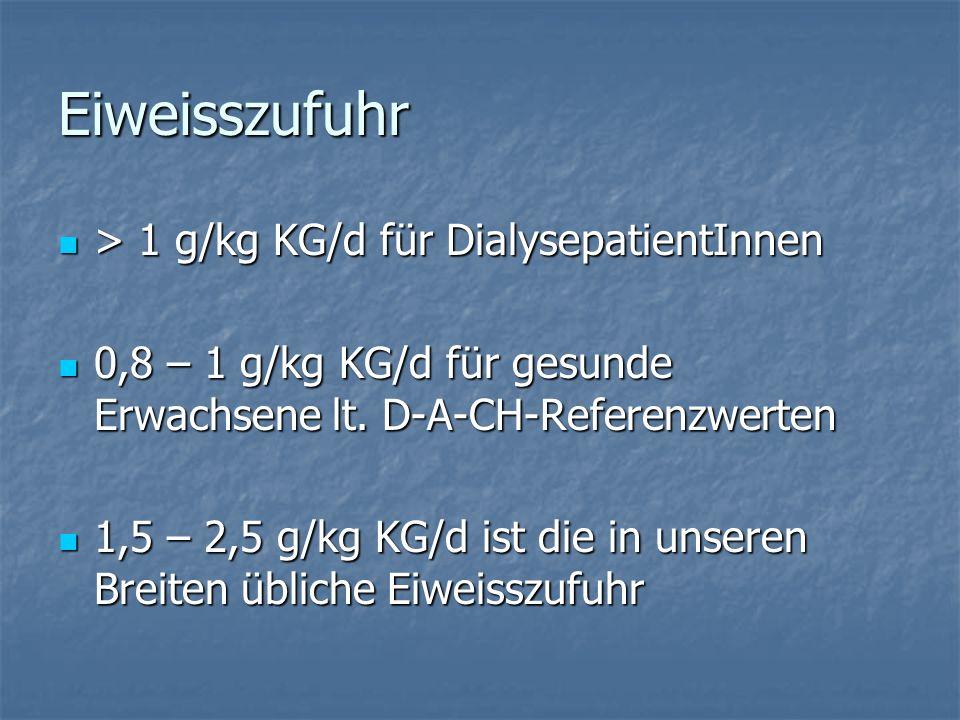Eiweisszufuhr > 1 g/kg KG/d für DialysepatientInnen > 1 g/kg KG/d für DialysepatientInnen 0,8 – 1 g/kg KG/d für gesunde Erwachsene lt.