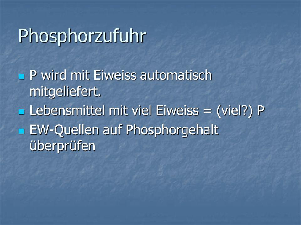 Phosphorzufuhr P wird mit Eiweiss automatisch mitgeliefert.