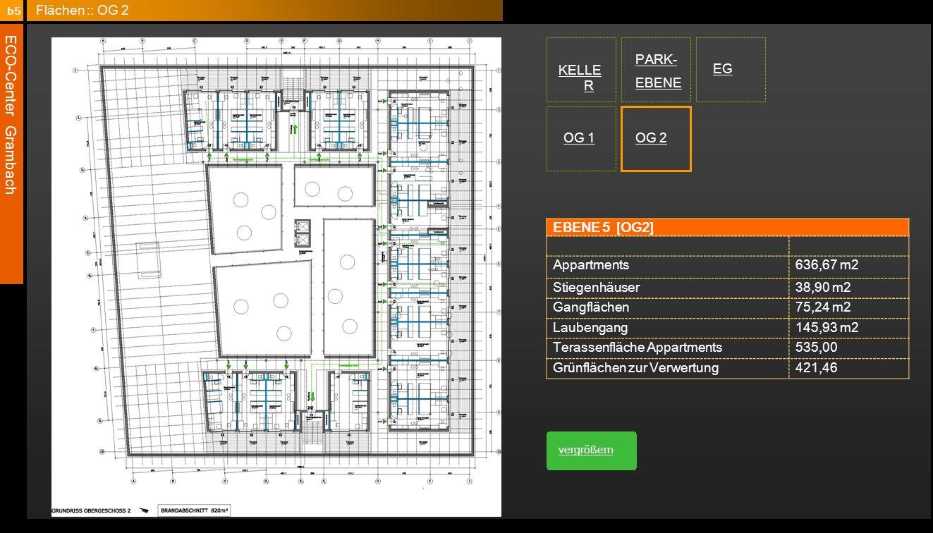 ECO-Center Grambach EBENE 5 [OG2] Appartments636,67 m2 Stiegenhäuser38,90 m2 Gangflächen75,24 m2 Laubengang145,93 m2 Terassenfläche Appartments535,00