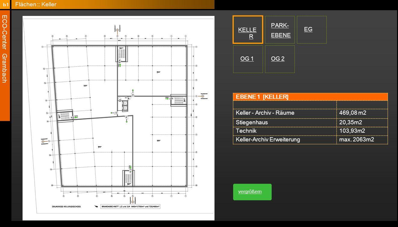 ECO-Center Grambach EBENE 1 [KELLER] Keller - Archiv - Räume469,08 m2 Stiegenhaus20,35m2 Technik103,93m2 Keller-Archiv Erweiterungmax. 2063m2 KELLE R