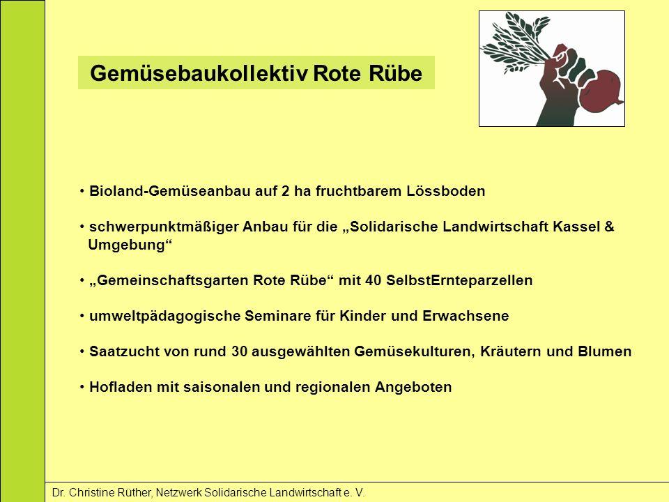 Gemüsebaukollektiv Rote Rübe Dr. Christine Rüther, Netzwerk Solidarische Landwirtschaft e. V. Bioland-Gemüseanbau auf 2 ha fruchtbarem Lössboden schwe