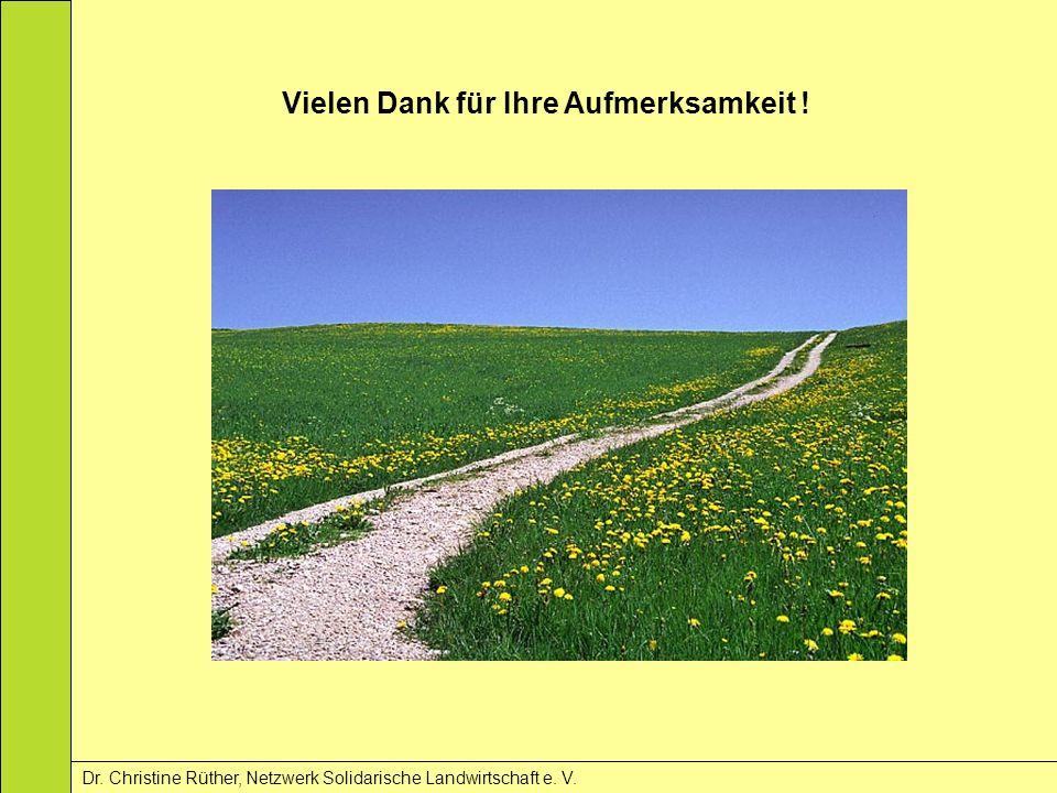 Vielen Dank für Ihre Aufmerksamkeit ! Dr. Christine Rüther, Netzwerk Solidarische Landwirtschaft e. V.