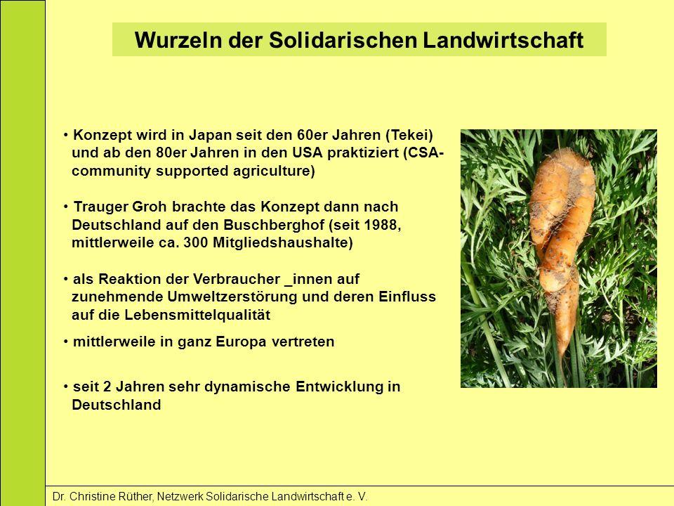 Wurzeln der Solidarischen Landwirtschaft Dr. Christine Rüther, Netzwerk Solidarische Landwirtschaft e. V. Konzept wird in Japan seit den 60er Jahren (