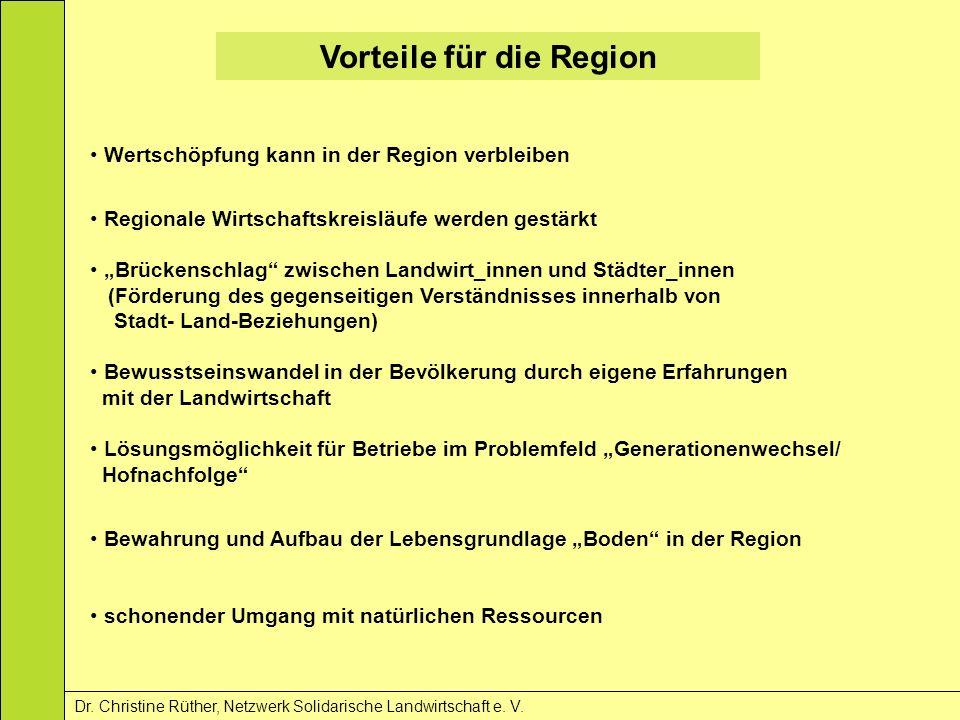 Vorteile für die Region Dr. Christine Rüther, Netzwerk Solidarische Landwirtschaft e. V. Wertschöpfung kann in der Region verbleiben Regionale Wirtsch