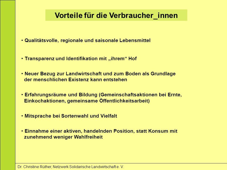 Vorteile für die Verbraucher_innen Dr. Christine Rüther, Netzwerk Solidarische Landwirtschaft e. V. Qualitätsvolle, regionale und saisonale Lebensmitt