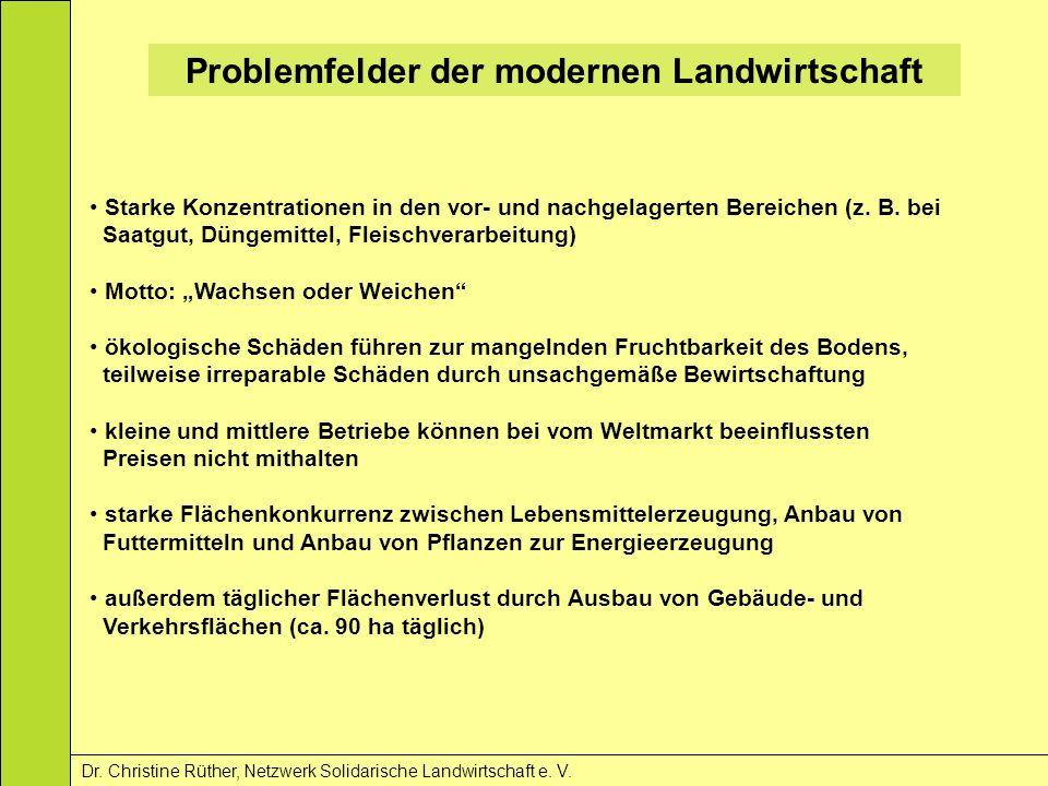 Problemfelder der modernen Landwirtschaft Dr. Christine Rüther, Netzwerk Solidarische Landwirtschaft e. V. Starke Konzentrationen in den vor- und nach