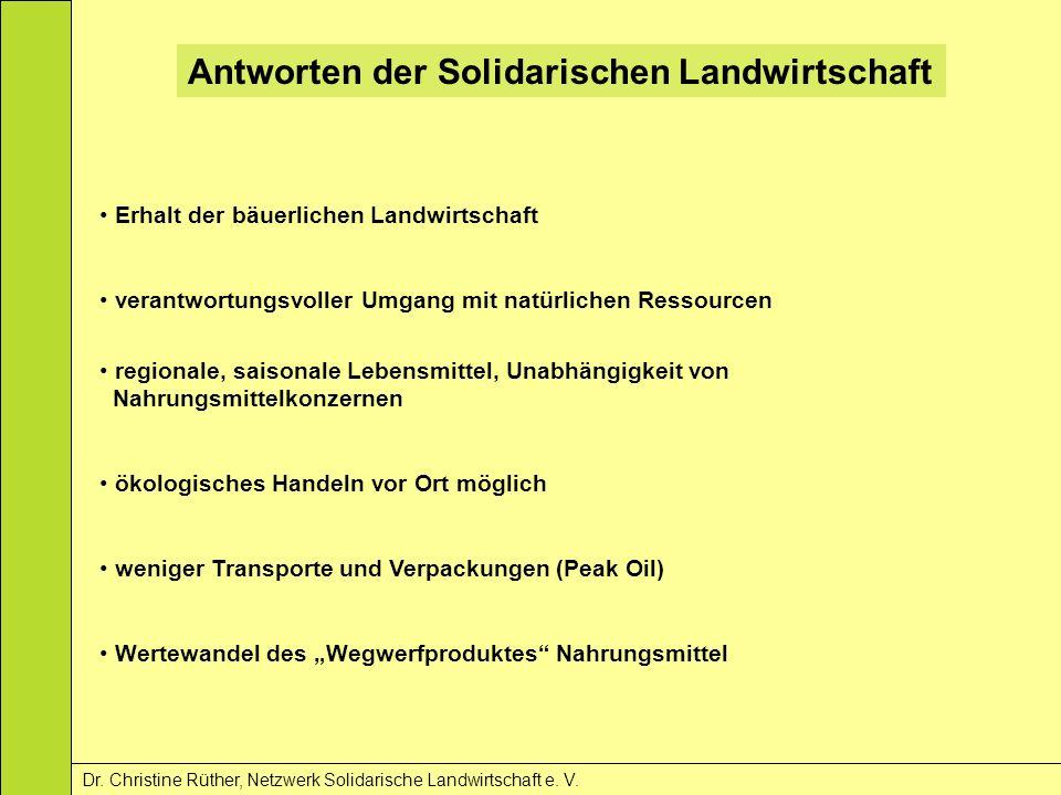 Antworten der Solidarischen Landwirtschaft Dr. Christine Rüther, Netzwerk Solidarische Landwirtschaft e. V. Erhalt der bäuerlichen Landwirtschaft vera