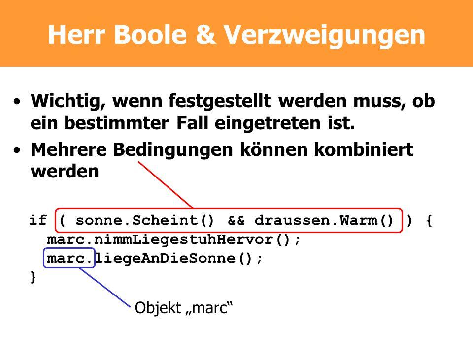 Herr Boole & Verzweigungen Wichtig, wenn festgestellt werden muss, ob ein bestimmter Fall eingetreten ist. Mehrere Bedingungen können kombiniert werde