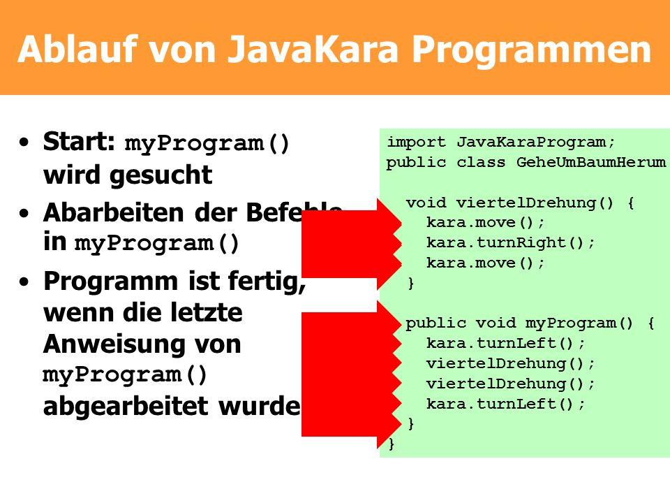 Ablauf von JavaKara Programmen Start: myProgram() wird gesucht Abarbeiten der Befehle in myProgram() Programm ist fertig, wenn die letzte Anweisung vo