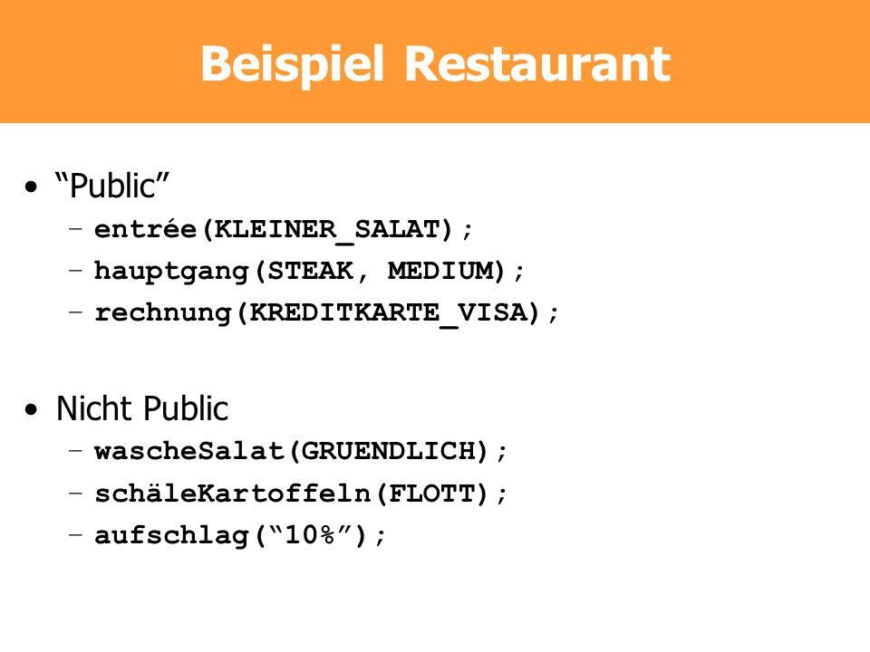 Beispiel Restaurant Public –entrée(KLEINER_SALAT); –hauptgang(STEAK, MEDIUM); –rechnung(KREDITKARTE_VISA); Nicht Public –wascheSalat(GRUENDLICH); –sch