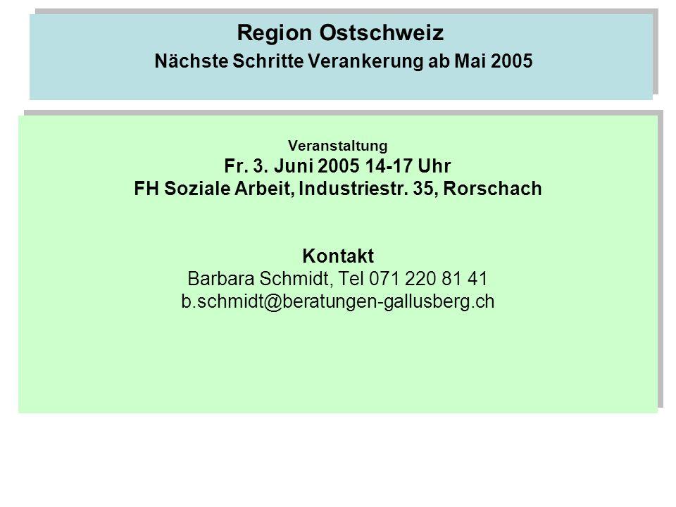 Region Ostschweiz Nächste Schritte Verankerung ab Mai 2005 Veranstaltung Fr. 3. Juni 2005 14-17 Uhr FH Soziale Arbeit, Industriestr. 35, Rorschach Kon