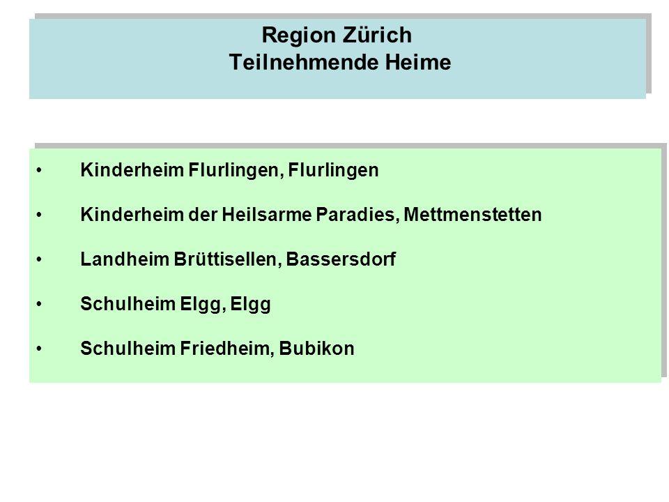 Region Zürich Teilnehmende Heime Kinderheim Flurlingen, Flurlingen Kinderheim der Heilsarme Paradies, Mettmenstetten Landheim Brüttisellen, Bassersdor