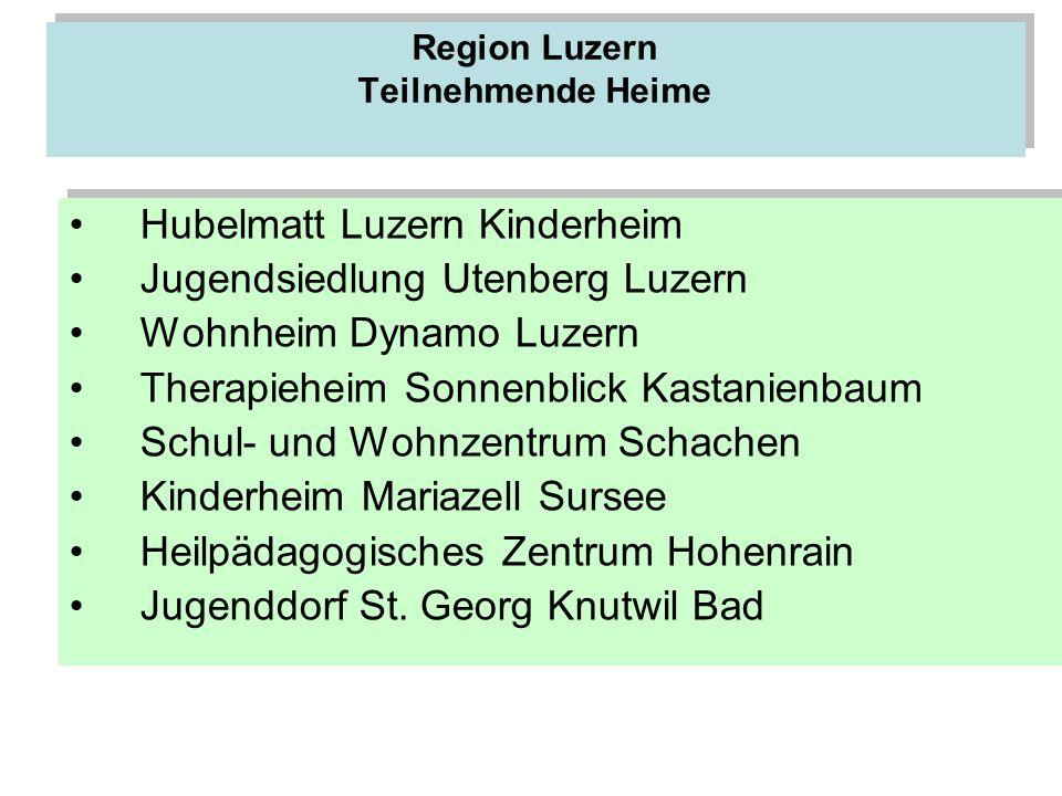 Region Luzern Teilnehmende Heime Hubelmatt Luzern Kinderheim Jugendsiedlung Utenberg Luzern Wohnheim Dynamo Luzern Therapieheim Sonnenblick Kastanienb
