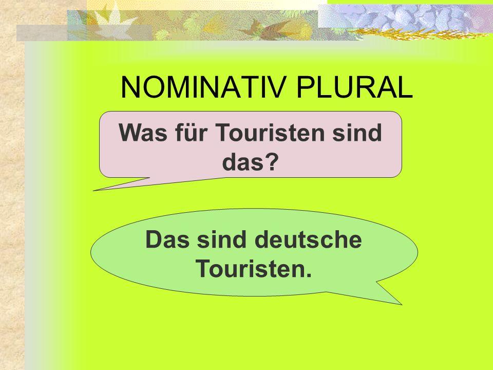 NOMINATIV PLURAL Was für Touristen sind das? Das sind deutsche Touristen.
