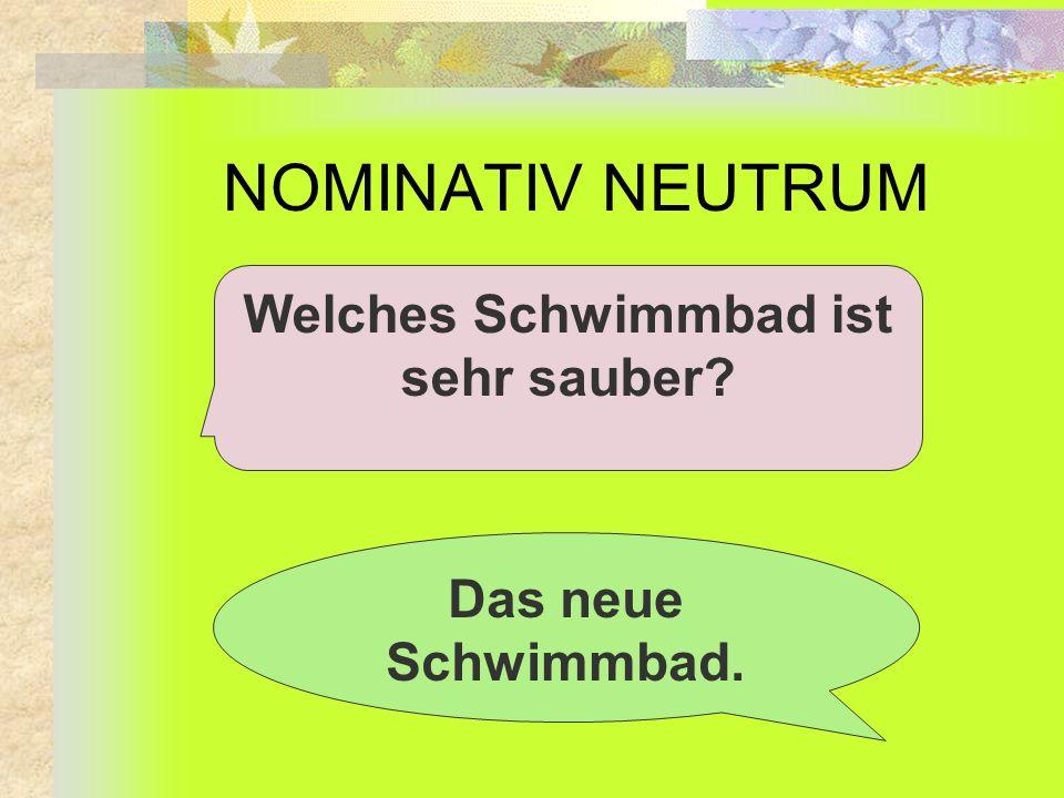 NOMINATIV NEUTRUM Welches Schwimmbad ist sehr sauber? Das neue Schwimmbad.