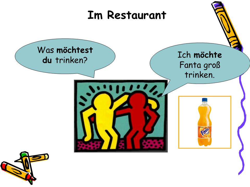 Im Restaurant Was möchtest du trinken? Ich möchte Fanta groß trinken.