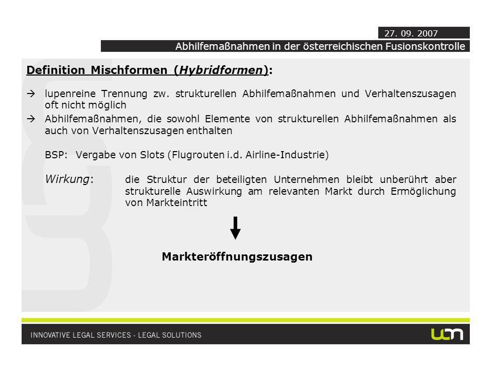 Definition Mischformen (Hybridformen): lupenreine Trennung zw.