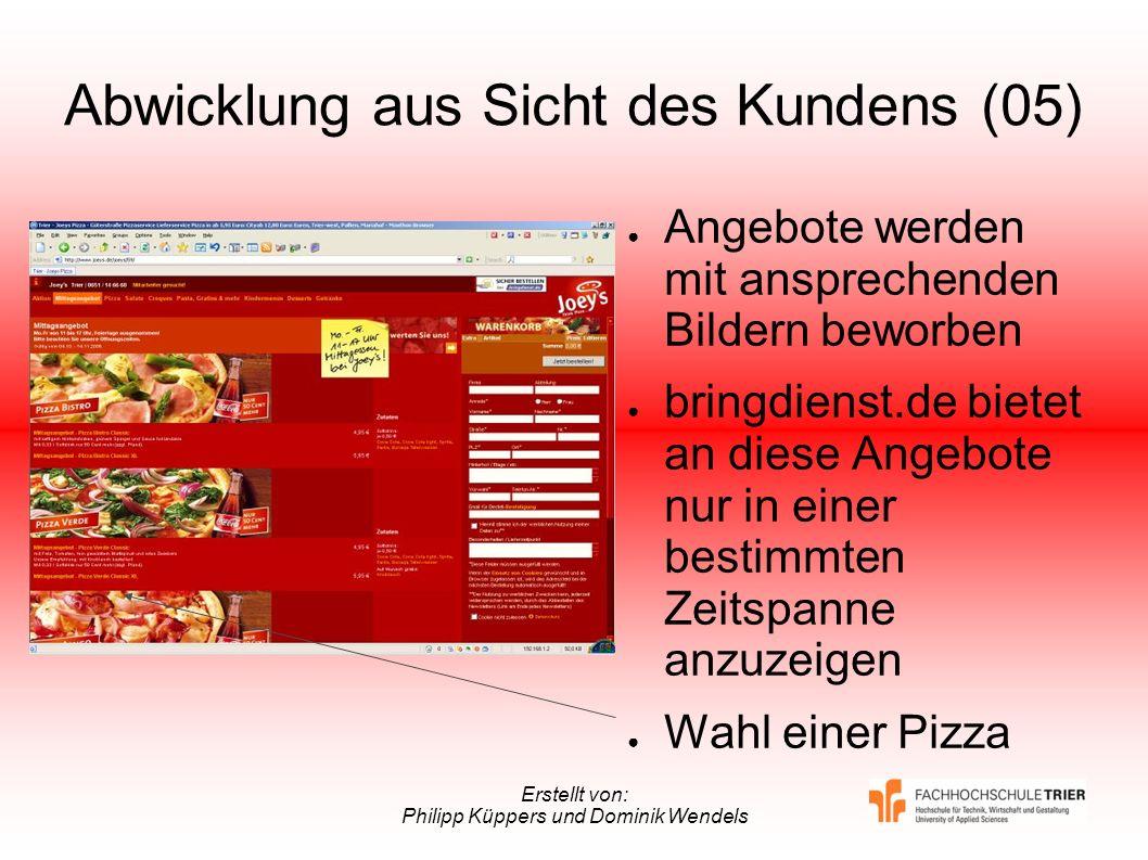 Erstellt von: Philipp Küppers und Dominik Wendels Abwicklung aus Sicht des Kundens (05) Angebote werden mit ansprechenden Bildern beworben bringdienst