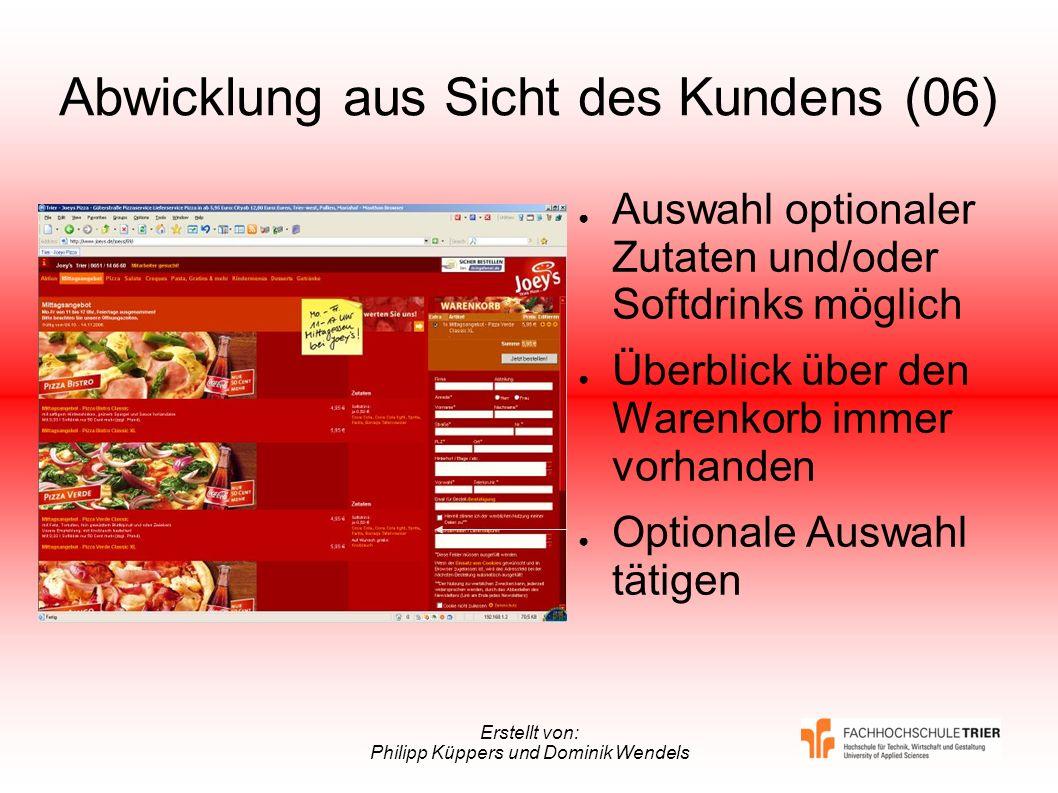 Erstellt von: Philipp Küppers und Dominik Wendels Abwicklung aus Sicht des Kundens (06) Auswahl optionaler Zutaten und/oder Softdrinks möglich Überbli