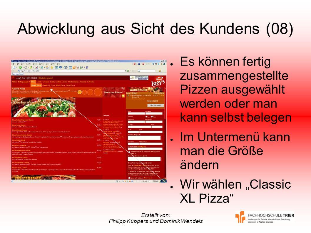 Erstellt von: Philipp Küppers und Dominik Wendels Abwicklung aus Sicht des Kundens (08) Es können fertig zusammengestellte Pizzen ausgewählt werden od