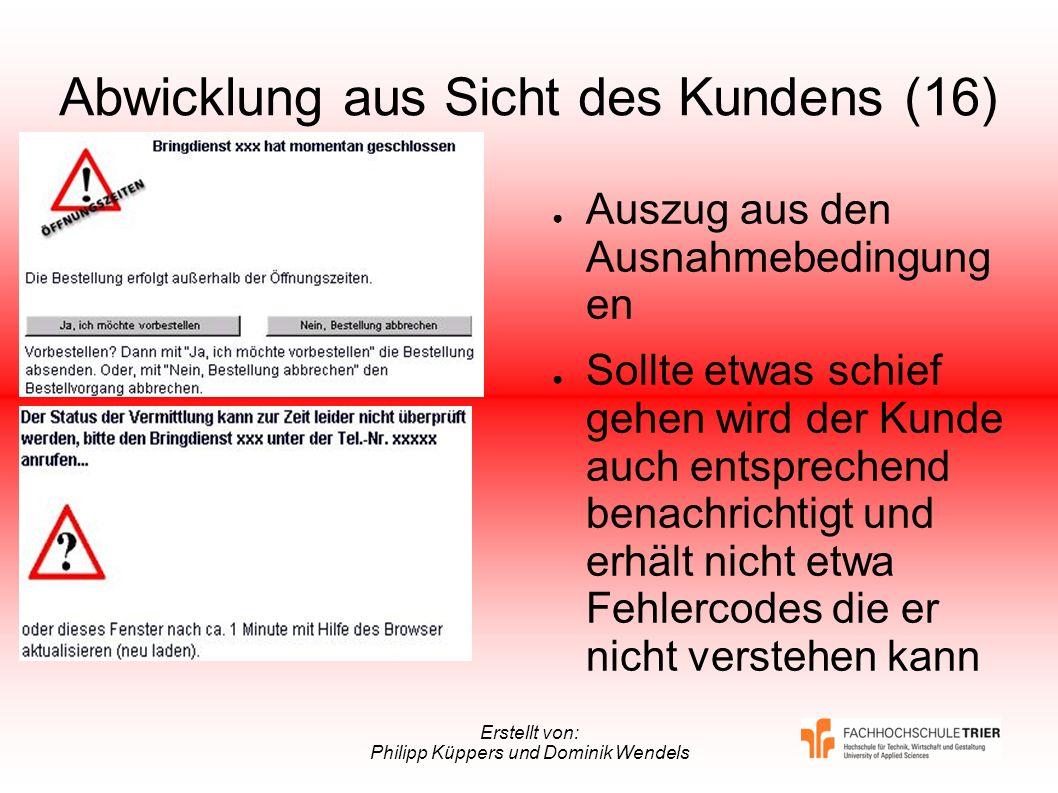 Erstellt von: Philipp Küppers und Dominik Wendels Abwicklung aus Sicht des Kundens (16) Auszug aus den Ausnahmebedingung en Sollte etwas schief gehen