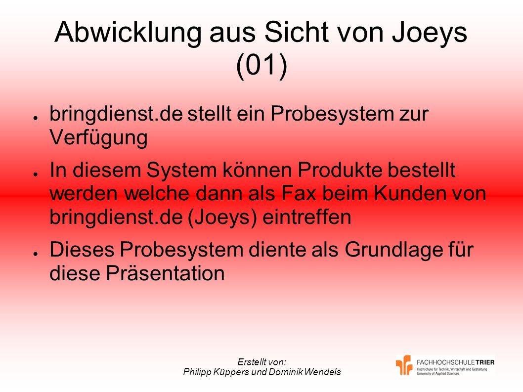 Erstellt von: Philipp Küppers und Dominik Wendels Abwicklung aus Sicht von Joeys (01) bringdienst.de stellt ein Probesystem zur Verfügung In diesem Sy