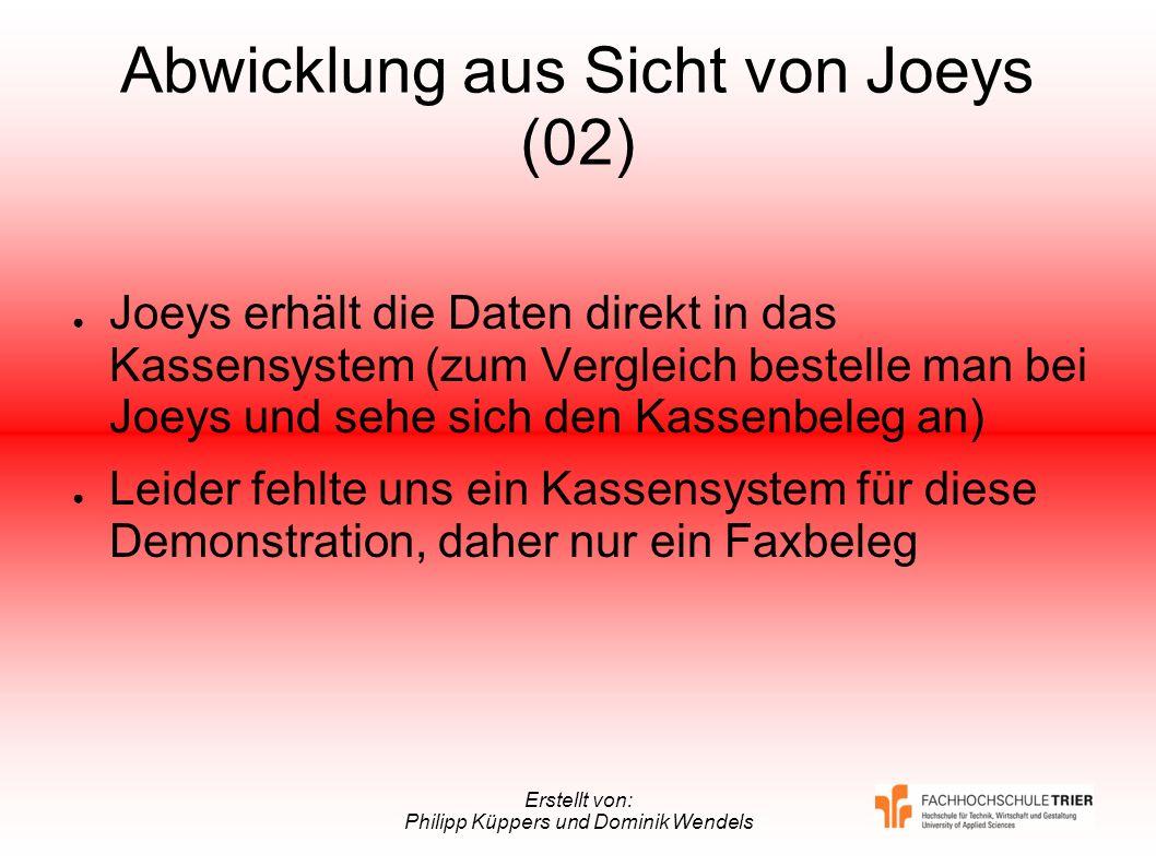 Erstellt von: Philipp Küppers und Dominik Wendels Abwicklung aus Sicht von Joeys (02) Joeys erhält die Daten direkt in das Kassensystem (zum Vergleich