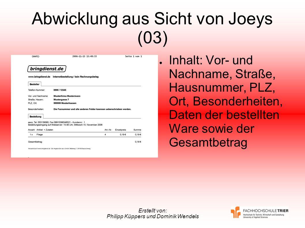 Erstellt von: Philipp Küppers und Dominik Wendels Abwicklung aus Sicht von Joeys (03) Inhalt: Vor- und Nachname, Straße, Hausnummer, PLZ, Ort, Besonde