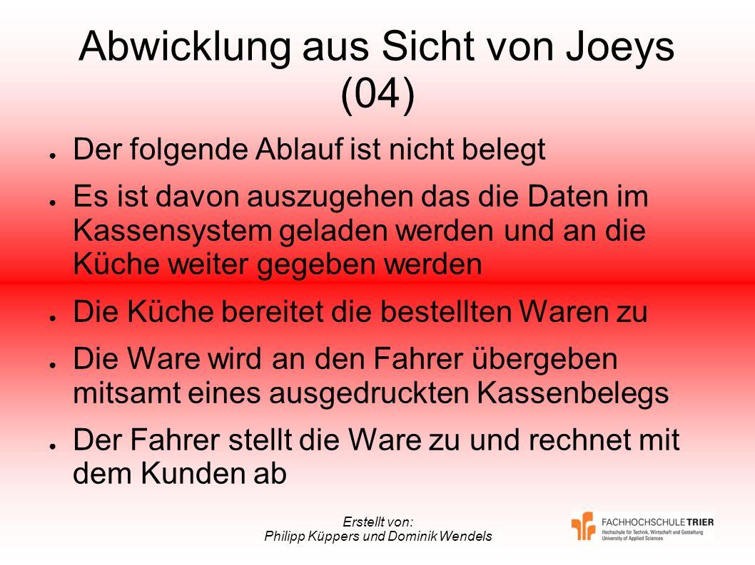 Erstellt von: Philipp Küppers und Dominik Wendels Abwicklung aus Sicht von Joeys (04) Der folgende Ablauf ist nicht belegt Es ist davon auszugehen das
