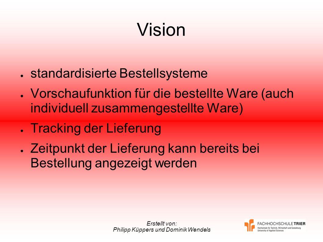 Erstellt von: Philipp Küppers und Dominik Wendels Vision standardisierte Bestellsysteme Vorschaufunktion für die bestellte Ware (auch individuell zusa