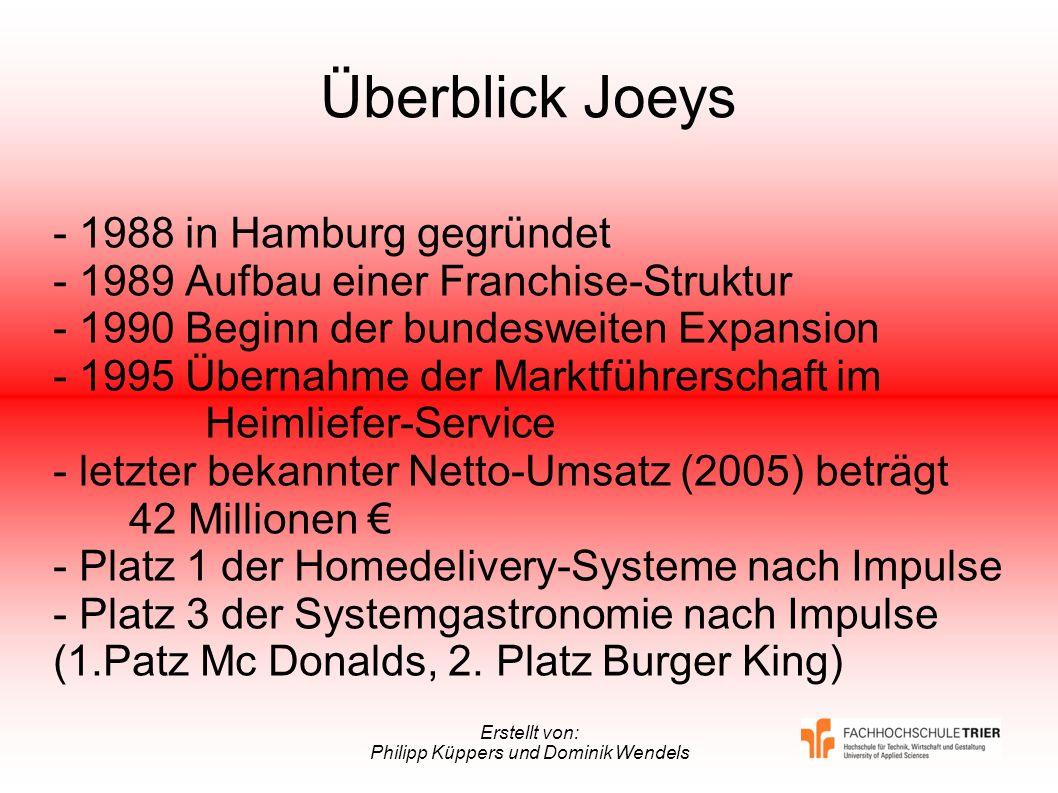 Erstellt von: Philipp Küppers und Dominik Wendels Überblick Joeys - 1988 in Hamburg gegründet - 1989 Aufbau einer Franchise-Struktur - 1990 Beginn der
