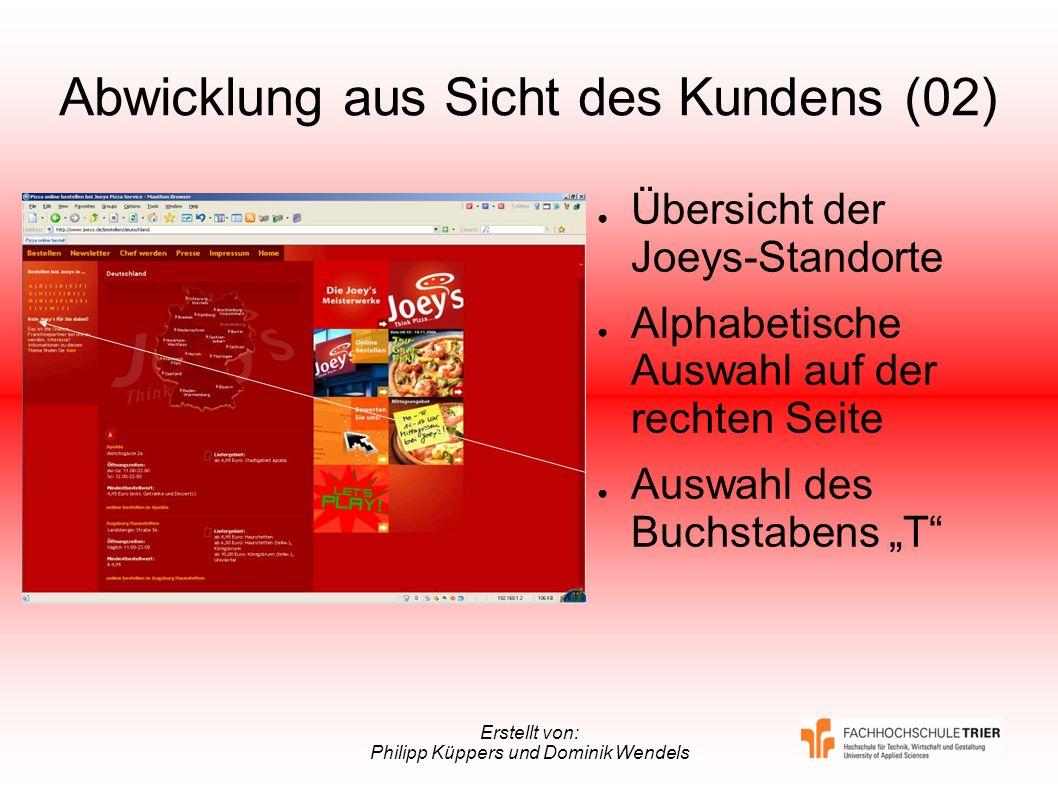 Erstellt von: Philipp Küppers und Dominik Wendels Abwicklung aus Sicht des Kundens (02) Übersicht der Joeys-Standorte Alphabetische Auswahl auf der re