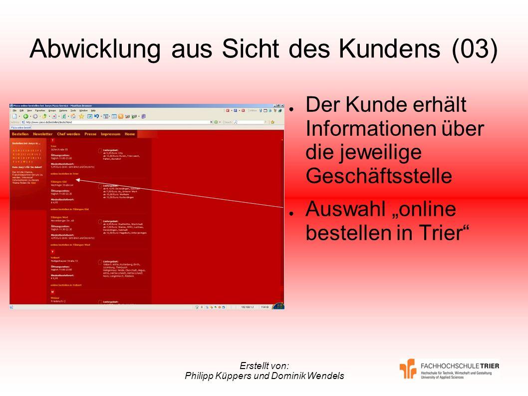 Erstellt von: Philipp Küppers und Dominik Wendels Abwicklung aus Sicht des Kundens (03) Der Kunde erhält Informationen über die jeweilige Geschäftsste