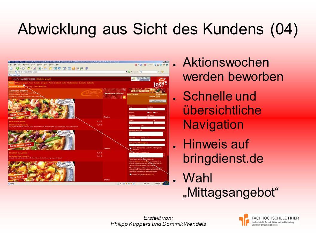 Erstellt von: Philipp Küppers und Dominik Wendels Abwicklung aus Sicht des Kundens (04) Aktionswochen werden beworben Schnelle und übersichtliche Navi