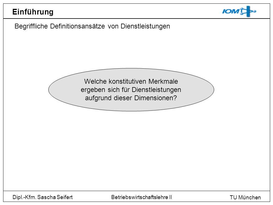 Dipl.-Kfm. Sascha Seifert TU München Betriebswirtschaftslehre II Einführung Begriffliche Definitionsansätze von Dienstleistungen Welche konstitutiven