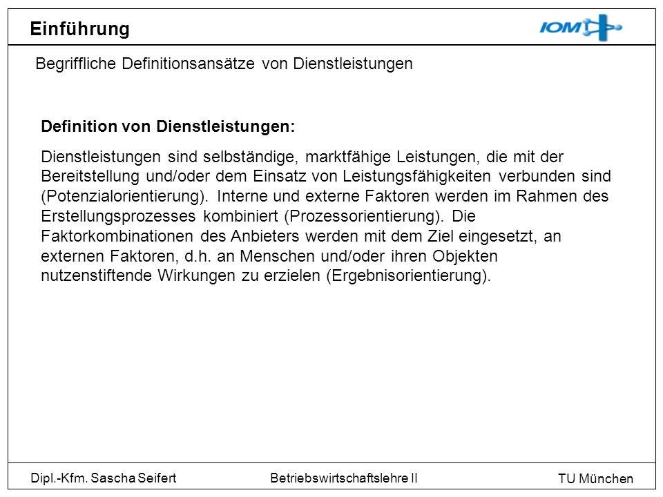 Dipl.-Kfm. Sascha Seifert TU München Betriebswirtschaftslehre II Einführung Begriffliche Definitionsansätze von Dienstleistungen Definition von Dienst