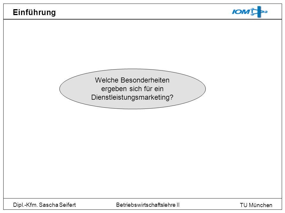 Dipl.-Kfm. Sascha Seifert TU München Betriebswirtschaftslehre II Einführung Welche Besonderheiten ergeben sich für ein Dienstleistungsmarketing?