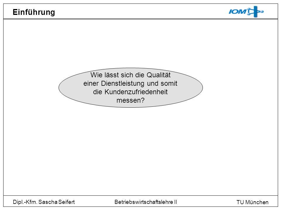 Dipl.-Kfm. Sascha Seifert TU München Betriebswirtschaftslehre II Einführung Wie lässt sich die Qualität einer Dienstleistung und somit die Kundenzufri