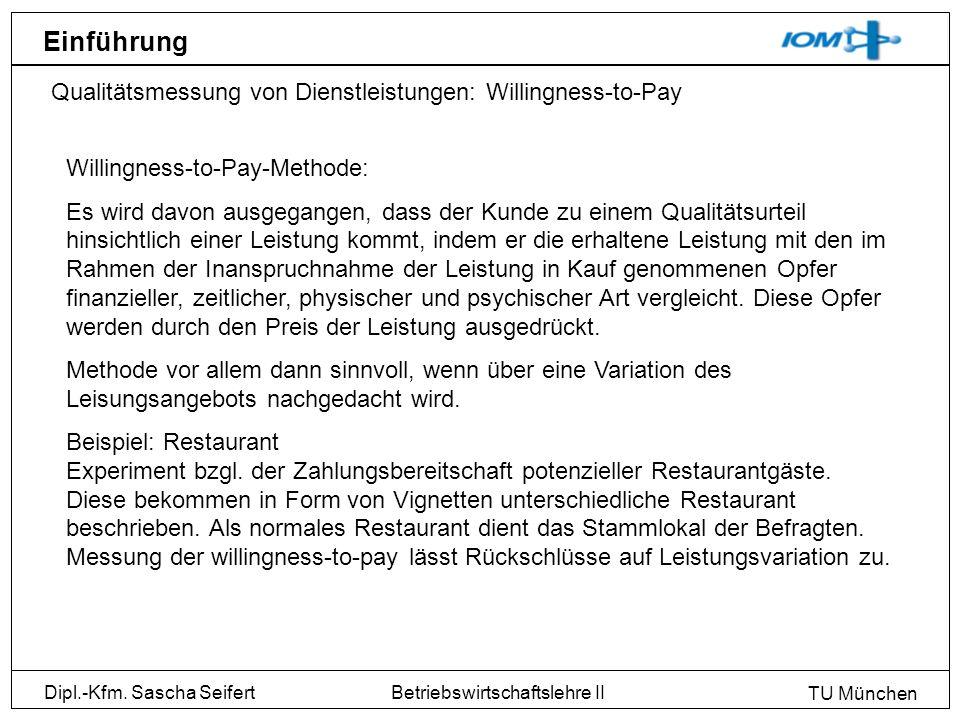 Dipl.-Kfm. Sascha Seifert TU München Betriebswirtschaftslehre II Einführung Qualitätsmessung von Dienstleistungen: Willingness-to-Pay Willingness-to-P