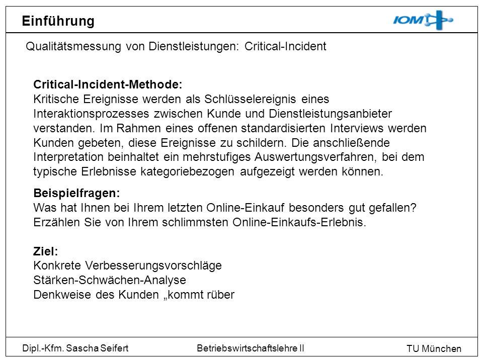 Dipl.-Kfm. Sascha Seifert TU München Betriebswirtschaftslehre II Einführung Qualitätsmessung von Dienstleistungen: Critical-Incident Critical-Incident
